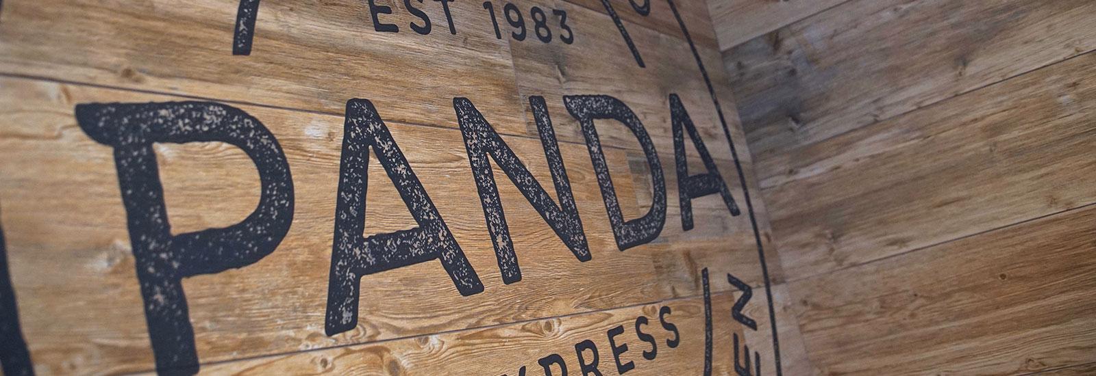 Panda Express logo on wood